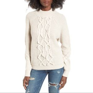 Leith Mock Neck Cable Knit Sweater